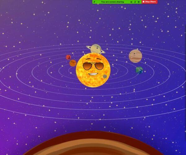 Unsere 1. Klasse beim Erkunden des Sonnensystems.