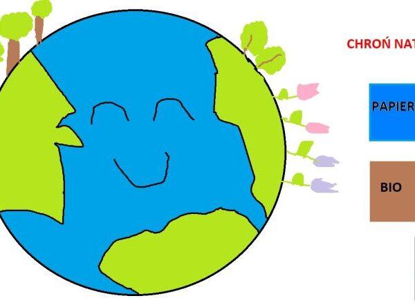 Arbeiten der 1. Klasse in Paint zum Erdetag.