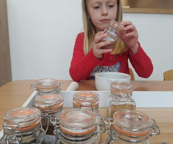Praca własna z materiałem rozwojowym Marii Montessori.