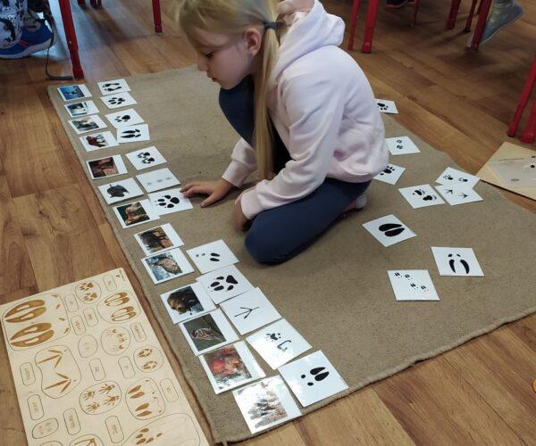 Grüne  Gruppe während der Montessori Arbeit.